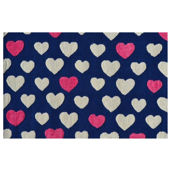 Hand-Tufted Heart Dot Navy Blue /Polyester Area Rug - 2'8 x 4'4