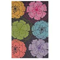 Hand-Hooked Zelda Floral Grey Grey /Polyester Area Rug - 2'8 x 4'4