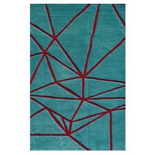 Hand-Tufted Facet Aqua Blue /Polyester Area Rug (2'8X4'8)