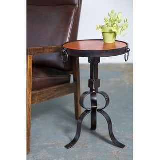 Industrial Round Iron End Table With Hammered Copper Top