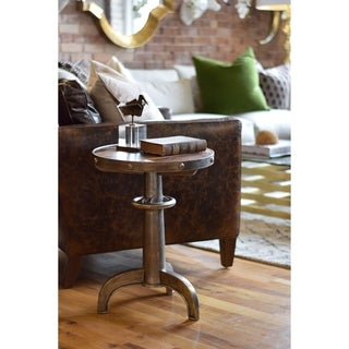 Pewter Round Metal Table with Wood Insert Top