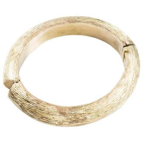 18k Yellow Gold Estate Carved Bark Bangle Bracelet