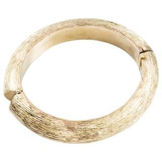 18k Yellow Gold Estate Carved Bark Bangle Bracelet