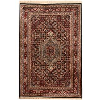Herat Oriental Indo Hand-knotted Bidjar Red/ Ivory Wool Rug (4'1 x 6'1)