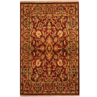 Herat Oriental Indo Hand-knotted Mahal Red/ Ivory Wool Rug (4' x 5'9)