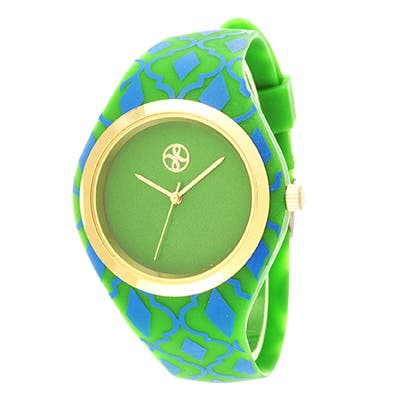 Fortune NYC Ladies Goldtone Case with Green Rubber Strap Watch