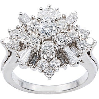 Platinum 2ct TDW Diamond Snowflake Cluster Estate Ring (H-I, SI1-SI2)