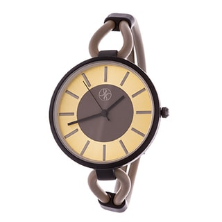 Fortune NYC Slim Ladies Black Case with Beige Rubber Strap Watch