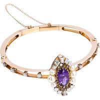Pre-owned 14k Yellow Gold 2ct TDW Antique Amethyst Victorian Estate Bangle (G-H, SI1-SI2)