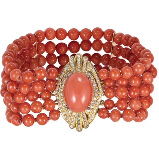 14k Yellow Gold 1ct TDW Diamond and Coral Beads Estate Bracelet (G-H, SI1-SI2)