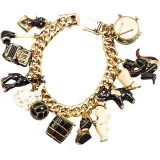 18k Yellow Gold Ebony and Bone Blackamoor 1940's Antique Estate 13 Charm Bracelet