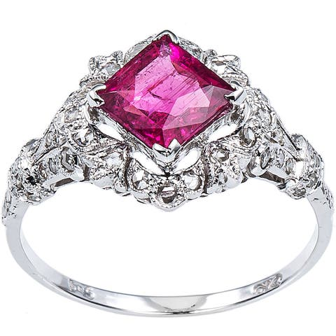 14K White Gold 2/5ct TDW Diamond and Rubellite Estate Cocktail Ring Size 8.25 (I-J, I1-I2)