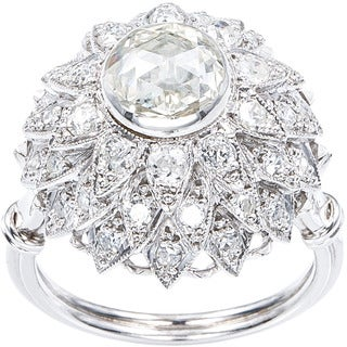 14k White Gold 1 2/5ct TDW Diamond Rose Cut Flower Estate Cocktail Ring Size 6.75 (H-I, SI1-SI2)