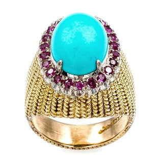 18k Yellow Gold Turquoise and Rubies Cocktail Ring (Size 5.25)