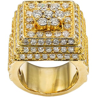 18k Yellow Gold 7ct TDW Diamond Giant Cluster Multi-layered Estate Cocktail Ring Size 8.5 (G-H, VS1-VS2)