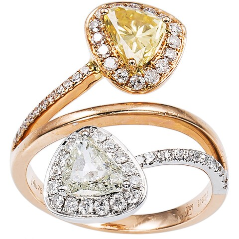 18k Pink Gold 1 4/5ct TDW White and Yellow Twin Diamond Estate Ring Size 6 (I-J, SI1-SI2)
