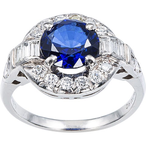 Platinum 1/2ct TDW Sapphire Cocktail Estate Ring (H-I, VS1-VS2)