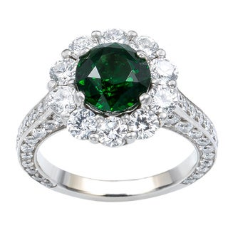 18k White Gold 2 3/4ct TDW Diamond and Tsavorite Estate Engagement Ring (G-H, VS1-VS2)