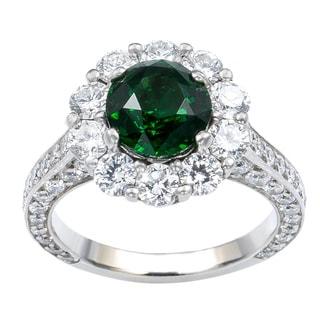 18k White Gold 2 3/4ct TDW Diamond and Tsavorite Estate Engagement Ring (G-H, VS1-VS2)