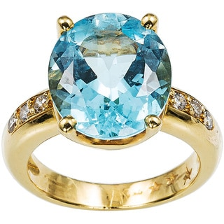 18k Yellow Gold 1/7ct TDW Blue Topaz Estate Ring Size 6.75 (H-I, SI1-SI2)