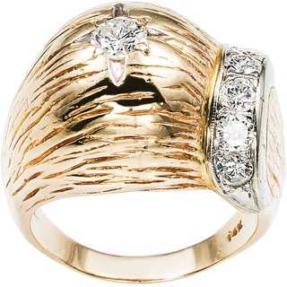 14k Yellow Gold 1ct TDW Round-cut Diamond Carved Dome Estate Ring (G-H, SI1-SI2)