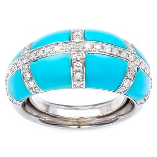 18K White Gold 1 1/5ct TDW Turquoise Estate Dome Ring Size 5.75 (H-I, SI1-SI2)