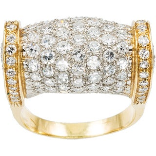 18k Yellow Gold 5ct TDW Diamond Pave Diamonds Estate Dome Ring Size 8.5 (H-I, SI1-SI2)