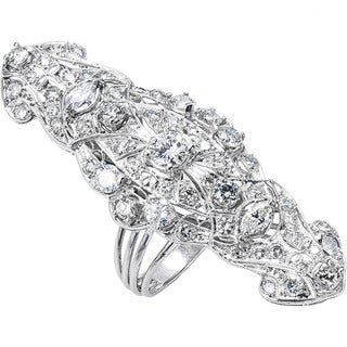 Pre-owned Platinum and 14k White Gold 8ct TDW Giant Antique Estate Cocktail Ring (G-H, SI1-SI2)