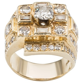 14k Yellow Gold 3ct TDW Diamond Estate Cocktail Ring (H-I, SI1-SI2)