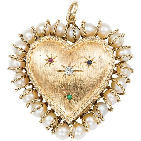 14k Yellow Gold 1/10ct TDW Diamond 1960's Heart Locket Estate Pendant (H-I, SI1-SI2)