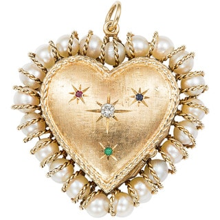 14k Yellow Gold 1/10ct TDW Diamond 1960's Heart Locket Estate Pendant (H-I, SI1-SI2)