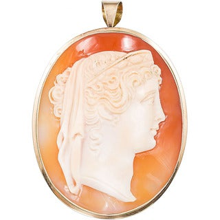 14k Yellow Gold Giant Cameo Estate Pin / Pendant signed by M and M Scognamigilo
