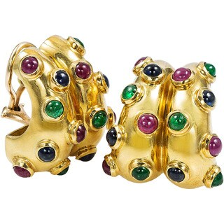 18k Yellow Gold Multi-gemstone Cabochon Estate Clip Earrings