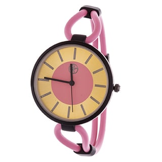Fortune NYC Slim Ladies Black Case with Pink Rubber Strap Watch