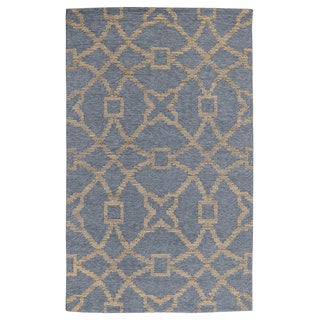 Kosas Home Handwoven Mia Slate Blue and Gold Wool/ Jute/ Cotton Rug (2' x 3')