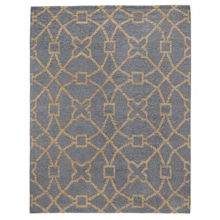 Kosas Home Handwoven Mia Slate Blue and Gold Wool/ Jute/ Cotton Rug (8' x 10')