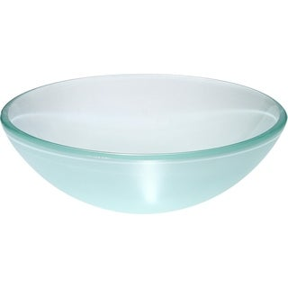 Argonne Frosted White Round Glass Vessel Basin with Polished Interior and Textured Exterior Vessel Sink