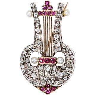 Platinum and 14k Rose Gold 2ct TDW Diamond and Ruby Antique Lyre Guitar Estate Brooch (G-H, SI1-SI2)
