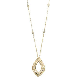 18k Yellow Gold 1 1/4ct TDW Diamond Marquise Pendant Estate Necklace (G-H, SI1-SI2)