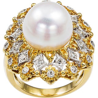 18k Yellow Gold 1/2ct TDW Diamond and Giant Pearl Cocktail Ring Size 6 (H-I, SI1-SI2)