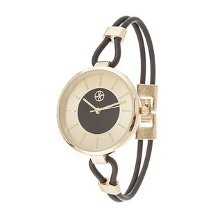 Fortune NYC Slim Ladies Goldtone Case with Black Rubber Strap Watch