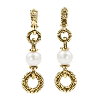 18k Yellow Gold Pearl Dangling Earrings by Judith Ripka