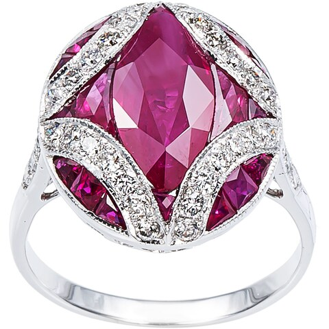18k White Gold 1/2ct TDW Diamond and French-cut Ruby Estate Ring (H-I, SI1-SI2)