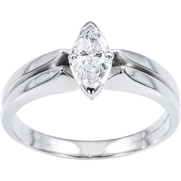 14k White Gold 1 3ct TDW Double Band Engagement Ring E F VS1