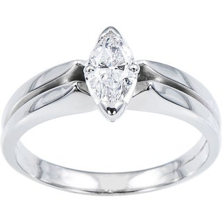 14k White Gold 1/3ct TDW Double Band Engagement Ring (E-F, VS1-VS2)