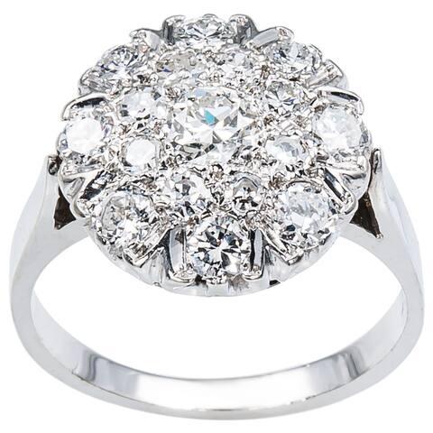 14k White Gold 1 1/4ct TDW Cluster Diamond Estate Ring (G-H, VS1-VS2)