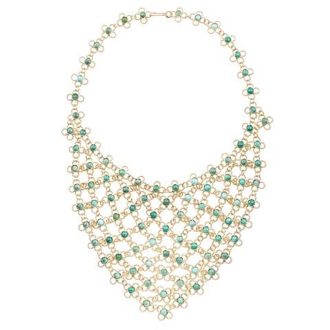 18k Yellow Gold Estate Turquoise Bib Necklace