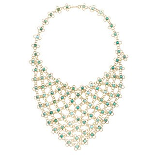 18k Yellow Gold Estate Turquoise Bib Necklace