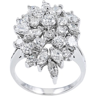 14k White Gold 4 1/2ct TDW Diamonds Clustered Estate Cocktail Ring Size 8.75 (G-H, VS1-VS2)