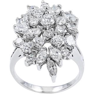 14k White Gold 4 1/2ct TDW Diamonds Clustered Estate Cocktail Ring Size 8.75 (G-H, VS1-VS2)